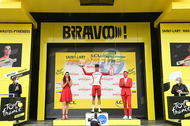 Anthony Perez (FRA) is awarded the day's combativity prize at the end of Stage 17 of the 2021 Tour de France, running 178.4km from Muret to Saint-Lary-Soulan Col du Portet, France. 14th July 2021.  <br /> Picture: A.S.O./Pauline Ballet | Cyclefile<br /> <br /> All photos usage must carry mandatory copyright credit (© Cyclefile | A.S.O./Pauline Ballet)