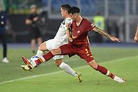 Giacomo Raspadori of US Sassuolo and Roger Ibanez of AS Roma  during the Serie A football match between AS Roma and US Sassuolo at Olimpico stadium in Rome (Italy), September 12th, 2021. Photo Antonietta Baldassarre / Insidefoto