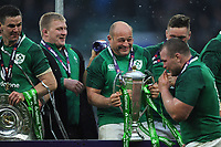 Rory Best (c) of Ireland celebrates winning the Triple Crown and Grand Slam at the conclusion of the NatWest 6 Nations match between England and Ireland at Twickenham Stadium on Saturday 17th March 2018 (Photo by Rob Munro/Stewart Communications)