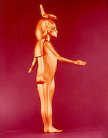 Egypt: Selket, gilded wood. Treasures of Tutuankhamun.  Cairo Museum.