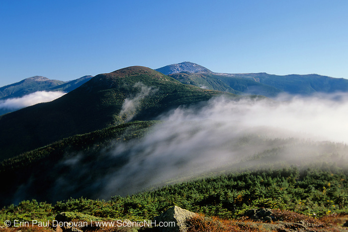 Appalachian Trail - Mountain view from along the Crawford Path near Mount Pierce in the the Presidential Range of the White Mountains, New Hampshire USA. Mount Eisenhower is in foreground, Mount Washington on the right and the Northern Presidentials are off to the left.
