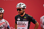 Black Jersey Tony Gallopin (FRA) and AG2R Citroen Team at sign on before the start of Stage 5 of the 2021 UAE Tour running 170km from Fujairah to Jebel Jais, Fujairah, UAE. 25th February 2021.  <br /> Picture: Eoin Clarke   Cyclefile<br /> <br /> All photos usage must carry mandatory copyright credit (© Cyclefile   Eoin Clarke)