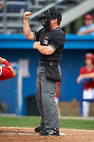 Umpire Ryan Benson during a NY-Penn League game between the Batavia Muckdogs and Brooklyn Cyclones at Dwyer Stadium on July 25, 2012 in Batavia, New York.  Brooklyn defeated Batavia 3-2.  (Mike Janes/Four Seam Images)