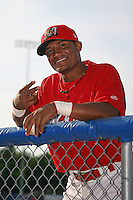 June 19, 2009:  Luis De La Cruz of the Batavia Muckdogs at the dugout before a game at Dwyer Stadium in Batavia, NY.  The Muckdogs are the NY-Penn League Short-Season Class-A affiliate of the St. Louis Cardinals.  Photo by:  Mike Janes/Four Seam Images