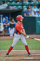 Nonie Williams (27) of the Orem Owlz bats against the Ogden Raptors at Lindquist Field on August 3, 2018 in Ogden, Utah. The Raptors defeated the Owlz 9-4. (Stephen Smith/Four Seam Images)