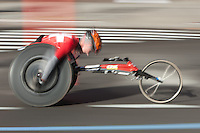 NEW YORK - NOVEMBER 7: Blurred abstraction of wheelchair division competitor during the 2010 New York City Marathon.