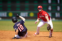 Second baseman Peyton Stovall (2) looks to first as Marcelo Mayer (10) slides into second base during the Baseball Factory All-Star Classic at Dr. Pepper Ballpark on October 4, 2020 in Frisco, Texas.  Peyton Stovall (2), a resident of Haughton, Louisiana, attends Haughton High School.  (Ken Murphy/Four Seam Images)