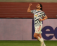 Football: Uefa Europa League - semifinal 2nd leg AS Roma vs Manchester United Olympic Stadium. Rome, Italy, May 6, 2021.<br /> Manchester United's Edinson Cavani celebrates after scoring  his second goal in the match during the Europa League football match between Roma and Manchester United at Rome's Olympic stadium, Rome, on May 6, 2021.  <br /> UPDATE IMAGES PRESS/Isabella Bonotto