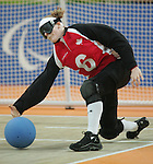 Annette Lisabeth of London, Ont. takes a shot in goalball action against Brazil at the Paralympic Games in Beijing, Monday, Sept., 8, 2008.  Photo by Mike Ridewood/CPC