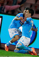 Calcio, Serie A: Napoli vs Juventus. Napoli, stadio San Paolo, 30 marzo 2014. <br /> Napoli forward Jose' Maria Callejon, of Spain, celebrates with teammate Lorenzo Insigne, left, after scoring during the Italian Serie A football match between Napoli and Juventus at Naples' San Paolo stadium, 30 March 2014.<br /> UPDATE IMAGES PRESS/Isabella Bonotto