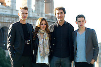 "HAYDEN CHRISTENSEN, RACHEL BILSON, DOUG LIMAN & JAMIE BELL.Photocall for ""Jumper"", Rome, Italy..February 6th, 2008.half length black jacket pattern print scarf grey gray.CAP/CAV.©Luca Cavallari/Capital Pictures."