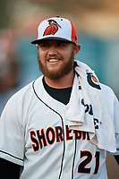 Delmarva Shorebirds pitcher Gray Fenter (21) before a South Atlantic League game against the Greensboro Grasshoppers on August 21, 2019 at Arthur W. Perdue Stadium in Salisbury, Maryland.  Delmarva defeated Greensboro 1-0.  (Mike Janes/Four Seam Images)