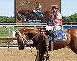 July 5, 2014: Coup de Grace (#3), Kerwin Clark up, wins the Oh Say Stakes, six furlongs for three-year-olds, at Delaware Park in Stanton, DE. Trainer is J. Larry Jones; owner is Fox Hill Farm. ©Joan Fairman Kanes/ESW/CSM