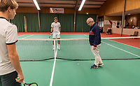 Wateringen, The Netherlands, December 8,  2019, De Rhijenhof , NOJK juniors 14 and18 years, Finals 18 years: The toss with Stijn Pel (NED) (M) and Guy den Ouden (NED)<br /> Photo: www.tennisimages.com/Henk Koster