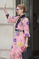 July 18 2017, PARIS FRANCE Singer Celine Dion leaves the Royal Monceau Hotel on<br /> Avenue Hoche