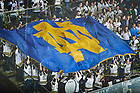 February 17, 2017; The Notre Dame Hockey Band waves a giant Monogram flag before the start of a hockey game at Compton Family Ice Arena. (Photo by Matt Cashore/University of Notre Dame)