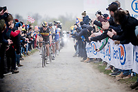 Belgian National Champion Yves LAMPAERT (BEL/Deceuninck-Quick Step) over the infamous Carrefour de l' Arbre cobbles<br /> <br /> 117th Paris-Roubaix 2019 (1.UWT)<br /> One day race from Compiègne to Roubaix (FRA/257km)<br /> <br /> ©kramon