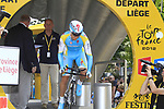 Maxim Iglinskiy (KAZ) Astana powers down the start ramp during the Prologue of the 99th edition of the Tour de France 2012, a 6.4km individual time trial starting in Parc d'Avroy, Liege, Belgium. 30th June 2012.<br /> (Photo by Eoin Clarke/NEWSFILE)