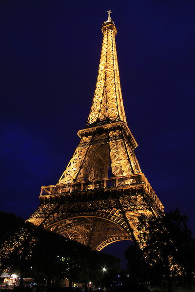 The Tour Eiffel or Eiffel Tower at night, Paris, France.