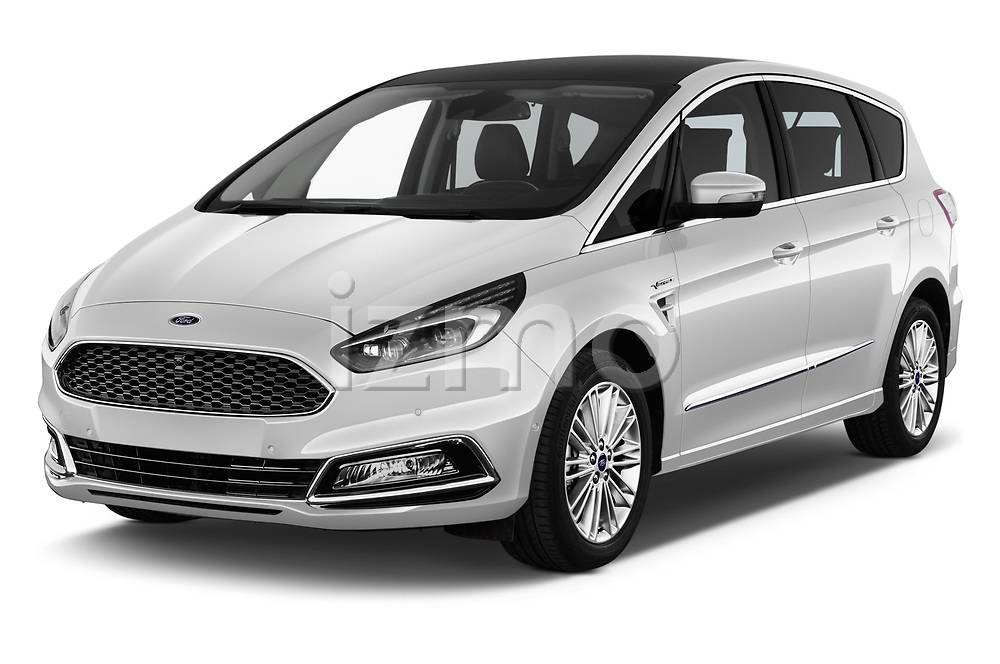 2018 Ford S-Max Vignale Base 5 Door Mini Van angular front stock photos of front three quarter view