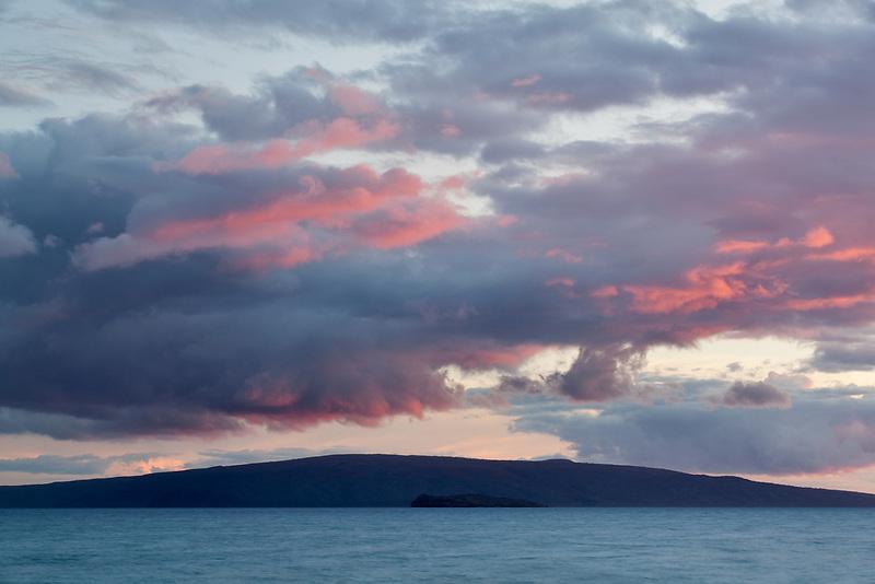 Sunset clouds over Kahoolawe Hawaii.