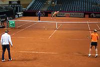 Februari 04, 2015, Apeldoorn, Omnisport, Fed Cup, Netherlands-Slovakia, Training Dutch team<br /> Photo: Tennisimages/Henk Koster