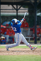 Toronto Blue Jays Mc Gregory Contreras (22) at bat during an Instructional League game against the Philadelphia Phillies on September 27, 2019 at Englebert Complex in Dunedin, Florida.  (Mike Janes/Four Seam Images)