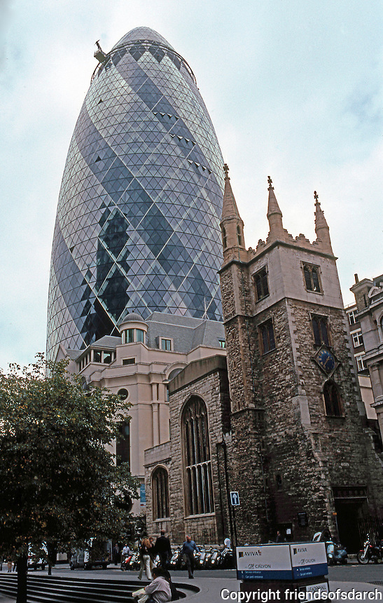 Sir Norman Foster: St. Mary Axe, 2003. 180 M--or about 560 ft. high.  Photo '05.