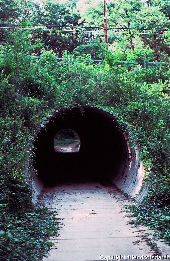 Greenbelt:  Pedestrian Underpass.  Lush setting.  Photo '85.