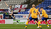 Bolton Wanderers' Ronan Darcy (left) shoots at goal <br /> <br /> Photographer Andrew Kearns/CameraSport<br /> <br /> The EFL Sky Bet League Two - Bolton Wanderers v Mansfield Town - Tuesday 3rd November 2020 - University of Bolton Stadium - Bolton<br /> <br /> World Copyright © 2020 CameraSport. All rights reserved. 43 Linden Ave. Countesthorpe. Leicester. England. LE8 5PG - Tel: +44 (0) 116 277 4147 - admin@camerasport.com - www.camerasport.com