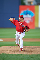 Williamsport Crosscutters relief pitcher Connor Seabold (45) delivers a pitch during a game against the Mahoning Valley Scrappers on July 8, 2017 at BB&T Ballpark at Historic Bowman Field in Williamsport, Pennsylvania.  Williamsport defeated Mahoning Valley 6-1.  (Mike Janes/Four Seam Images)