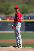 Los Angeles Angels starting pitcher Isaac Mattson (76) during a Minor League Spring Training game against the Colorado Rockies at Tempe Diablo Stadium Complex on March 18, 2018 in Tempe, Arizona. (Zachary Lucy/Four Seam Images)