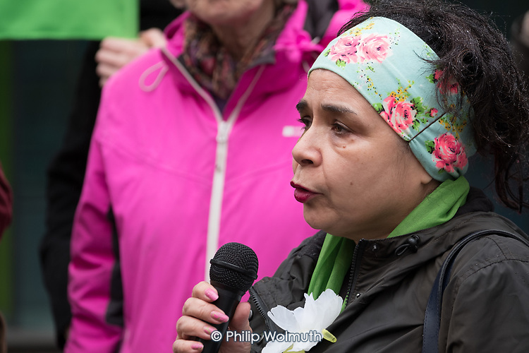 Grenfell campaigner Desi Cranenburgh, Safe Cladding and Insulation Now protest by Fuel Poverty Action, social housing tenants and leaseholders from Salford and London, MHCLG, London.
