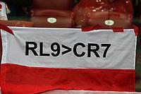 04.09.2017, Warszawa, pilka nozna, kwalifikacje do Mistrzostw Swiata 2018, Polska - Kazachstan, Robert Lewandowski (POL) vs Cristiano Ronaldo i Polscy kibice , Poland - Kazakhstan, World Cup 2018 qualifier, football, fot. Tomasz Jastrzebowski / Foto Olimpik<br /><br /> POLAND OUT !!! *** Local Caption *** +++ POL out!! +++<br /> Contact: +49-40-22 63 02 60 , info@pixathlon.de