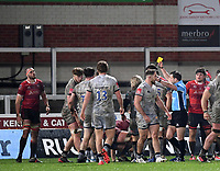 2nd January 2021; Kingsholm Stadium, Gloucester, Gloucestershire, England; English Premiership Rugby, Gloucester versus Sale Sharks; Lewis Ludlow of Gloucester receives a yellow card from Referee Karl Dickson