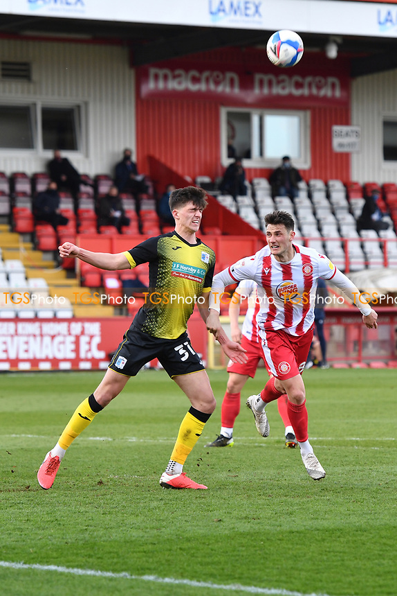 Bobby Thomas of Barrow AFC heads clear during Stevenage vs Barrow, Sky Bet EFL League 2 Football at the Lamex Stadium on 27th March 2021