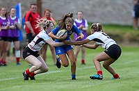 24 August 2019;  Rachel Conroy is tackled by Sarah Shrestha and Toni Macartney during the Under 18 Girls Interprovincial Rugby Championship match between Ulster and Leinster at Armagh RFC in Armagh. Photo by John Dickson/DICKSONDIGITAL