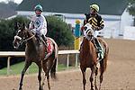 Jockey Robby Albarado #1 & Victor Lebron #5 after Race #3. (Justin Manning/Eclipse Sportswire)