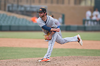 Mesa Solar Sox relief pitcher Brendan McCurry (53) of the Houston Astros organization, follows through on his delivery during an Arizona Fall League game against the Salt River Rafters on October 30, 2017 at Salt River Fields at Talking Stick in Scottsdale, Arizona. The Solar Sox defeated the Rafters 8-4. (Zachary Lucy/Four Seam Images)