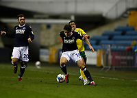 2nd February 2021; The Den, Bermondsey, London, England; English Championship Football, Millwall Football Club versus Norwich City; Ryan Leonard of Millwall holds off Onel Hernandez of Norwich City
