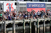 17th March 2021; Waitemata Harbour, Auckland, New Zealand;  Fans and spectators line up along the wharf to cheer on Emirates Team New Zealand.<br />