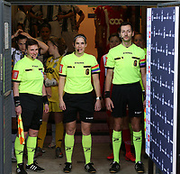 Lineswoman Ella De Vries, referee Caroline Lanssens and linesman Bryan Bijnens  pictured in the tunnel before during a female soccer game between Standard Femina de Liege and Sporting Charleroi on the 16th matchday of the 2020 - 2021 season of Belgian Scooore Womens Super League , saturday 13 th of February 2021  in Angleur , Belgium . PHOTO SPORTPIX.BE | SPP | SEVIL OKTEM