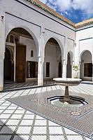 Marrakesh, Morocco.  Bahia Palace, 19th. Century.  Fountain and Courtyard.