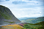 The peloton ride through stunning scenery during Stage 2 of the 2018 Artic Race of Norway, running 195km from Tana to Kjøllefjord, Norway. 17th August 2018. <br /> <br /> Picture: ASO/Rune Dahl | Cyclefile<br /> All photos usage must carry mandatory copyright credit (© Cyclefile | ASO/Rune Dahl)