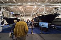 """55. Internationale Bootsmesse """"hanseboot"""" vom 25. Oktober bis 2. November 2014 zeigt alles rund um den Bootssport. Von Luxusyachten bis zum Kanu oder den einfachen Ruderboot und dem entsprechenden Zubehoer.<br /> Im Bild: Luxusmotoryachten """"Targa 32"""" (links und """"Targa 44"""" (rechts) der Finnischen Firma Targa.<br /> 27.10.2014, Hamburg<br /> Copyright: Christian-Ditsch.de<br /> [Inhaltsveraendernde Manipulation des Fotos nur nach ausdruecklicher Genehmigung des Fotografen. Vereinbarungen ueber Abtretung von Persoenlichkeitsrechten/Model Release der abgebildeten Person/Personen liegen nicht vor. NO MODEL RELEASE! Don't publish without copyright Christian-Ditsch.de, Veroeffentlichung nur mit Fotografennennung, sowie gegen Honorar, MwSt. und Beleg. Konto: I N G - D i B a, IBAN DE58500105175400192269, BIC INGDDEFFXXX, Kontakt: post@christian-ditsch.de<br /> Urhebervermerk wird gemaess Paragraph 13 UHG verlangt.]"""