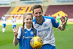 Motherwell v St Johnstone…05.05.18…  Fir Park    SPFL<br />Steven MacLean in his last game for saints celebrates his hat trick at full time with daughter Ruby<br />Picture by Graeme Hart. <br />Copyright Perthshire Picture Agency<br />Tel: 01738 623350  Mobile: 07990 594431