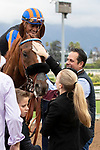 ARCADIA, CA  SEPTEMBER 28:  <br /> #3 Cleopatra's Strike, ridden by Abel Cedillo, returns to the connections after winning the John Henry Turf Championship (Grade ll) on September 28, 2019 at Santa Anita Park in Arcadia, CA. (Photo by Casey Phillips/Eclipse Sportswire/CSM
