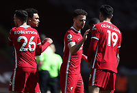 24th April 2021; Anfield, Liverpool, Merseyside, England; English Premier League Football, Liverpool versus Newcastle United; Diogo Jota of Liverpool shakes hands with team mate Ozan Kabak prior to the kick off