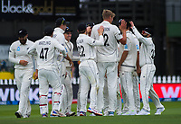 The Black Caps congratulate Kyle Jamieson for bowling Virat Kohli during day one of the International Test Cricket match between the New Zealand Black Caps and India at the Basin Reserve in Wellington, New Zealand on Friday, 21 February 2020. Photo: Dave Lintott / lintottphoto.co.nz