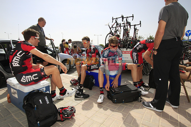 BMC Racing Team riders Danilo Wyss, Michael Schar and Martin Kohler (SUI) relax before the start of the 3rd Stage of the 2012 Tour of Qatar running 146.5km from Dukhan Souq, Dukhan to Al Gharafa, Qatar. 7th February 2012.<br /> (Photo Eoin Clarke/Newsfile)